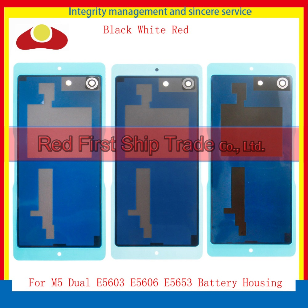 """5.0"""" For Sony Xperia M5 Dual E5603 E5606 Back Chassis Rear Cover Battery Door Housing Case Body Black White Red+Tracking Code"""