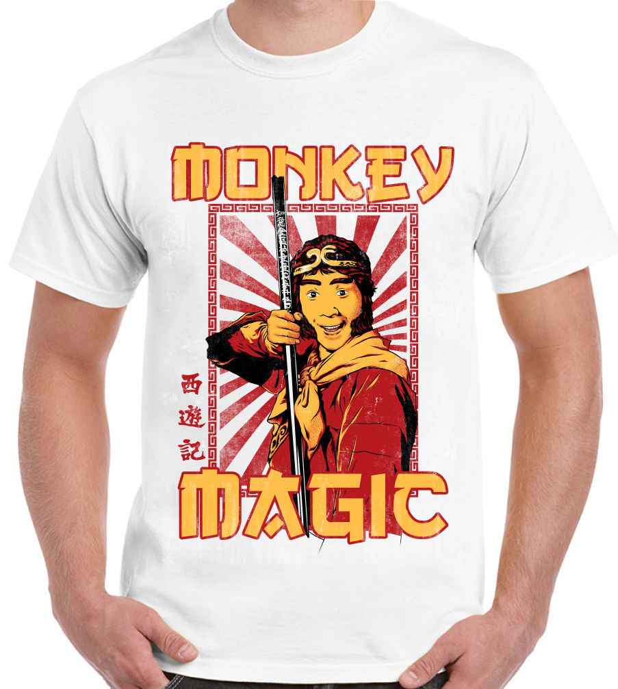 Mens Retro Monkey Magic T-Shirt Chinese Fantasy TV Show 70's 80's Printed Men T-Shirt Short Sleeve Funny Tee Shirts Short Sleeve image
