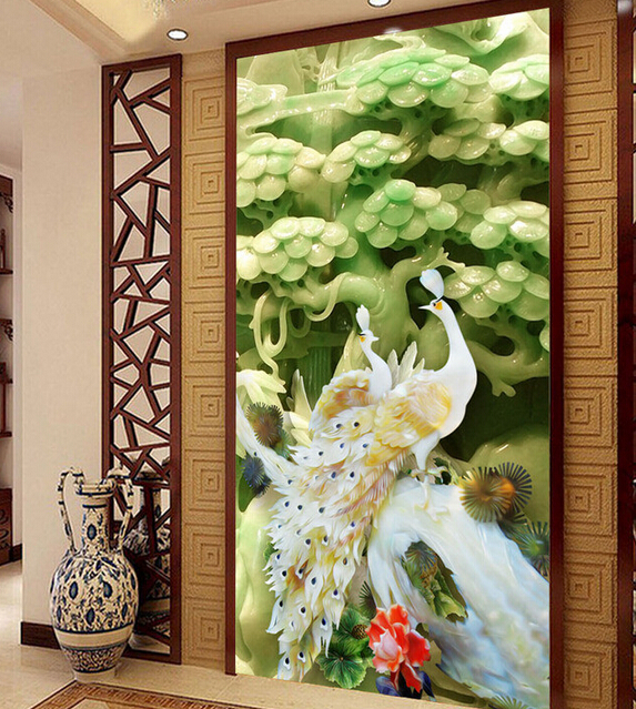 Custom 3D wallpaper, peacock mural for living room bedroom TV background wall waterproof papel de parede custom flowers wallpaper 3d fashion rose simple mural for the living room bedroom tv background wall waterproof papel de parede