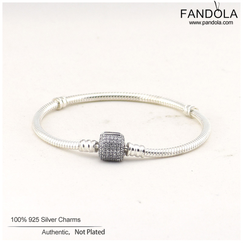 Fashion Jewelry Cylinder Shape Silver Bracelets With CZ 100 925 Sterling Silver Jewelry Charm Bracelets for