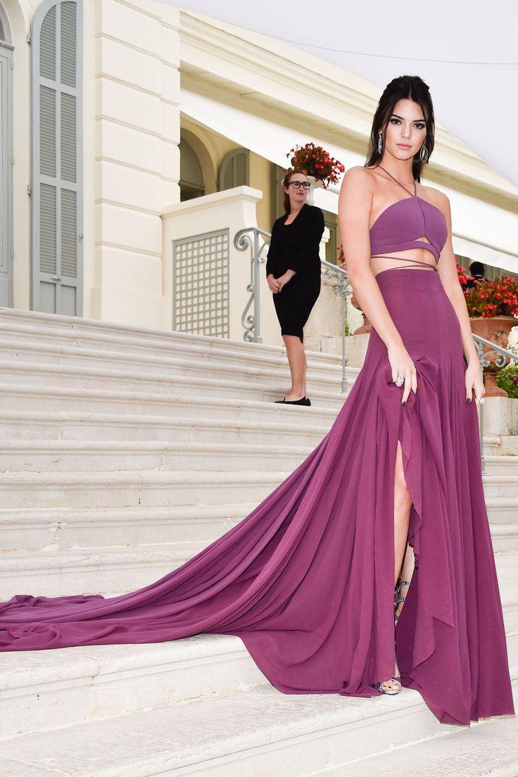 Halter Kylie Jenner Celebrity Dresses Red Carpet Purple Evening ...