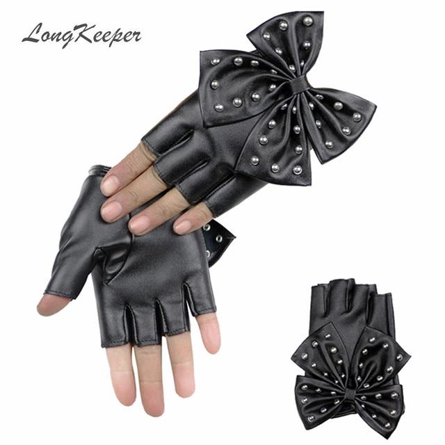 dc5961537 LongKeeper Women's Leather Gloves Black Fingerless Gloves PU Leather Big  Bow Mittens Half finger Ladies Luvas