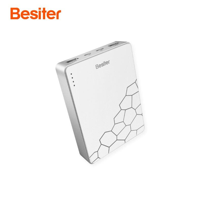 Besiter 10000 mAh carga rápida portátil para teléfonos batería cargador tipo C entrada batería externa del coche cargador
