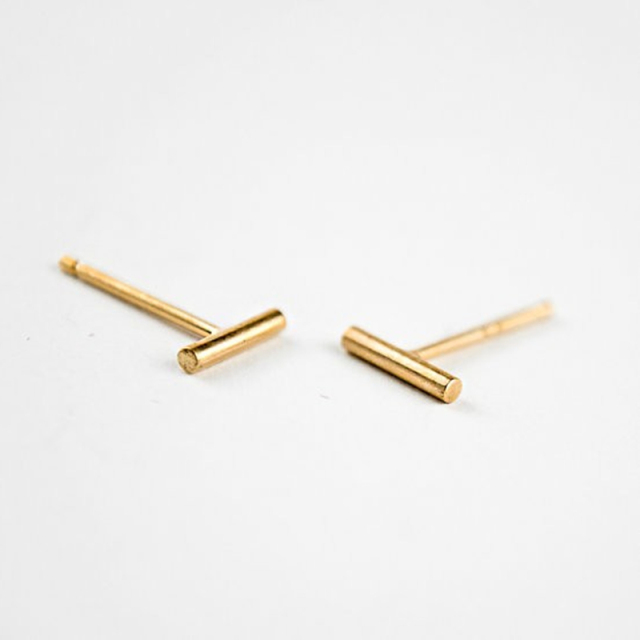 Simple Design One Pair Tiny Bar Fashionable Earrings Stud Cute Earring For Women Ear