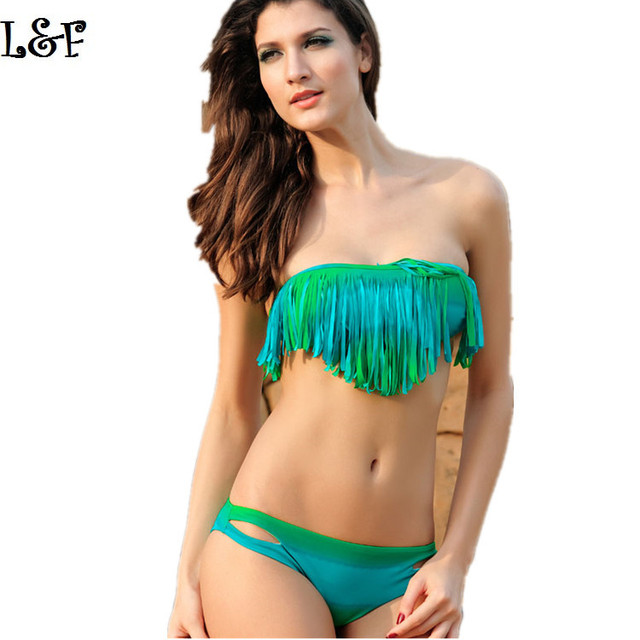 e811b47e3d2e0 Women Tassel Bikinis Set Cheap sexy two-piece separate swimwear multi  tassel female swimsuit maillot