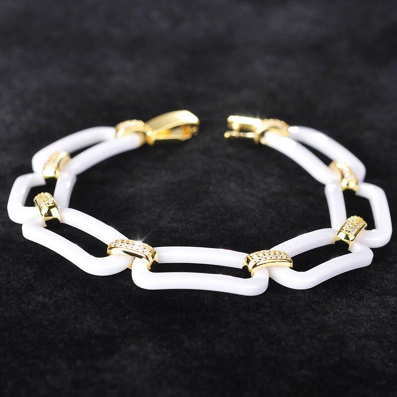 Dazz nove sjajne keramičke narukvice za žene muškarac zlatne boje bakrene pulseiras cirkon nakit Kina porculan Bileklik dodaci