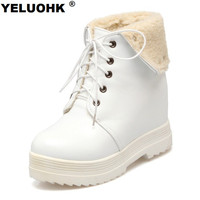Large Size White Boots Winter Shoes Women Warm Waterproof Snow Boots For Women Wedge Shoes Casual Shoes Woman Winter Platform