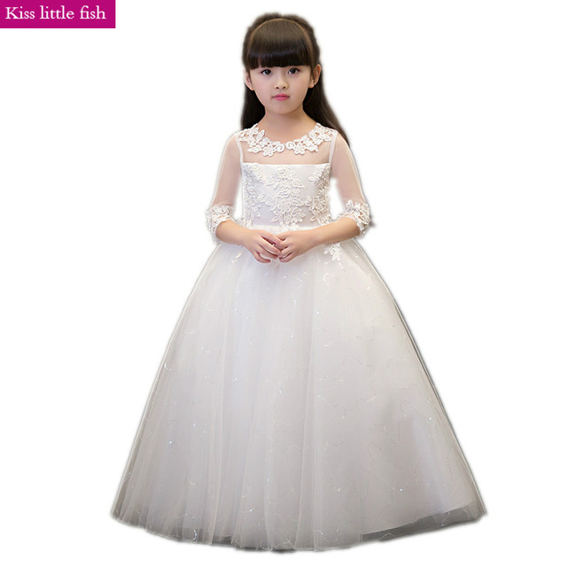Frete grátis Primeira comunhão vestidos para meninas vestidos da menina de Flor para casamentos
