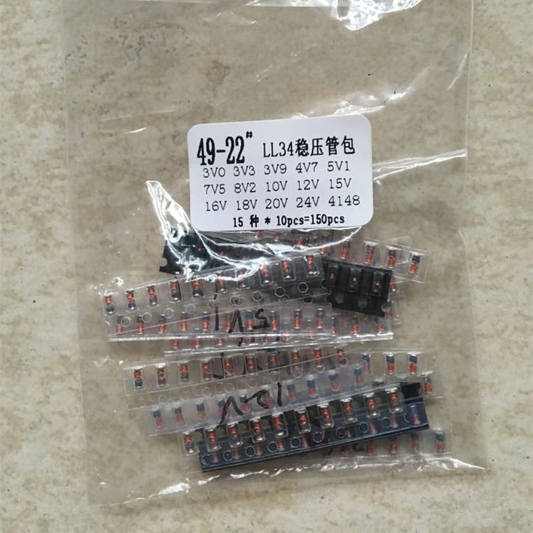 LL34 SMD Zener Diode Assorted Kit 1/2W 3V-24V And LL4148  15 Value *10pcs=150pcs