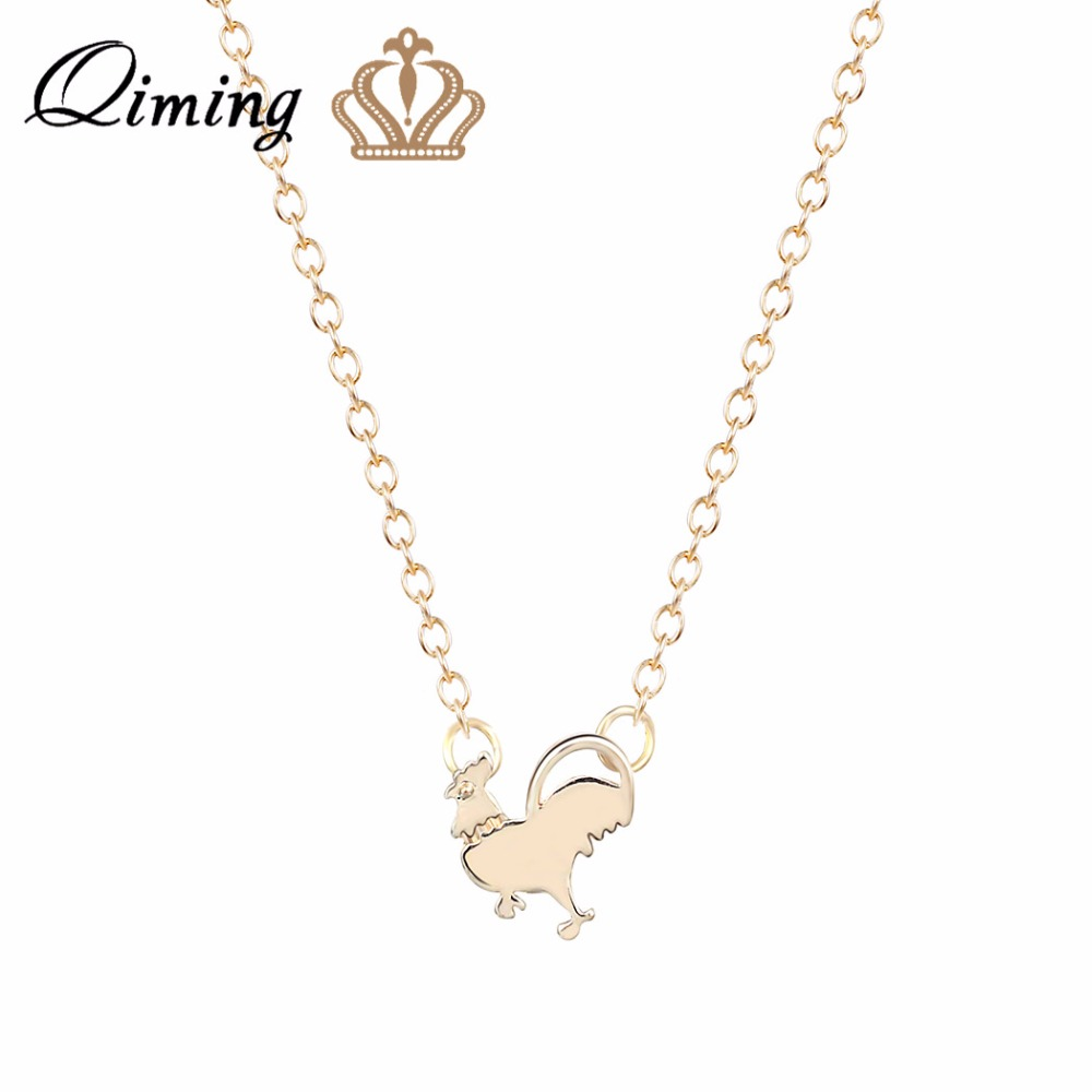 QIMING Animal Pendant Necklace Chicken Charm Necklack for Women Rooster Necklaces Animals Wholesale Jewelry For Girl Gift ...