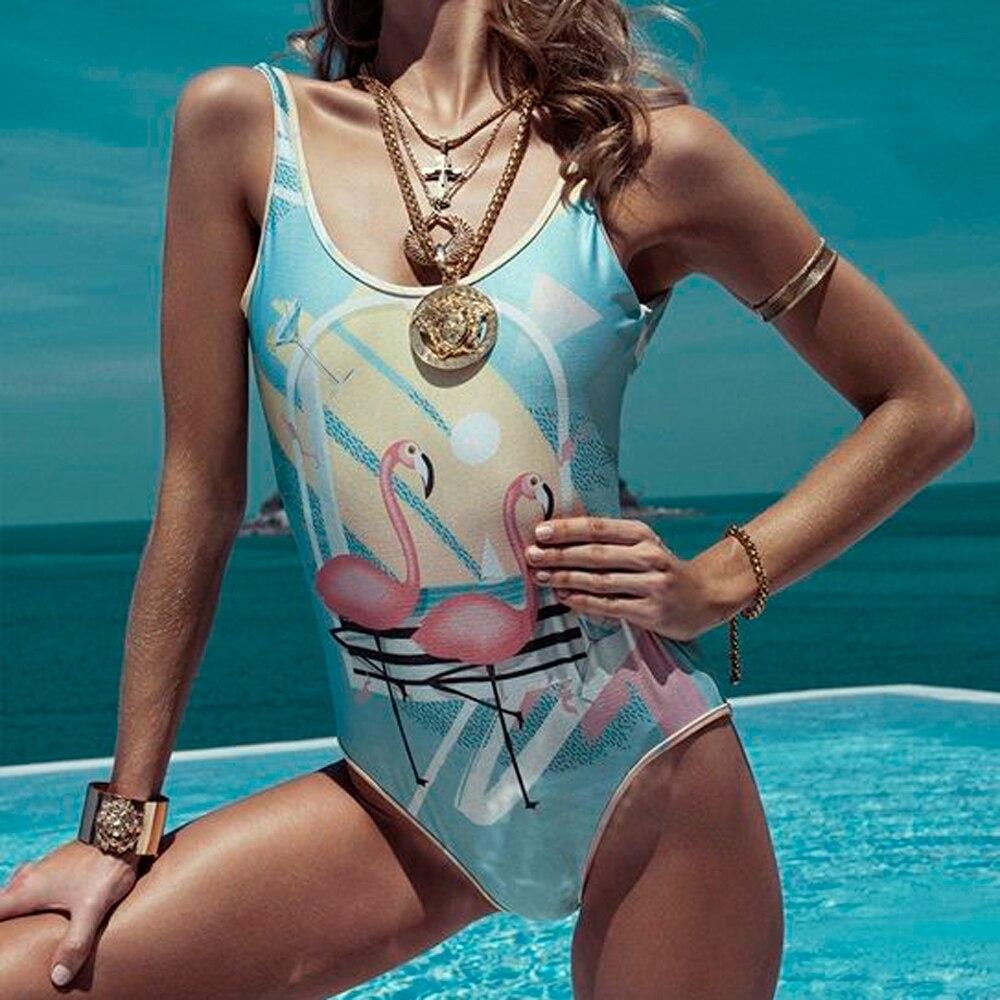 One-Piece Swimsuit Monokini Beachwear Print Push-Up Women Summer Sexy