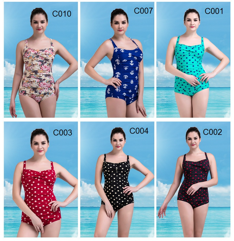 c8c90e3340 One Piece Swimsuit 2018 Women Swimwear Summer Beach Plus Size Bodysuits  Vintage Retro Fold Bathing Suits