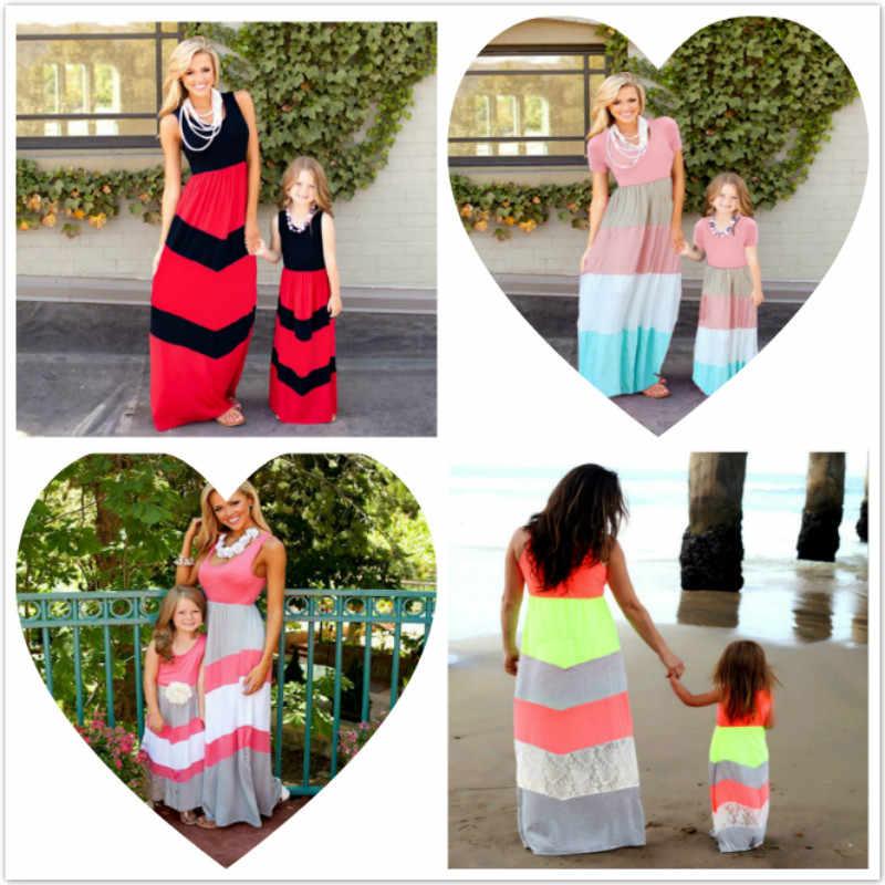 แม่และลูกสาวชุด Mommy และ Me ชุดเดรสลายแม่ลูกสาวชุดแขนสั้นครอบครัวจับคู่เสื้อผ้าลูกสาวแม่