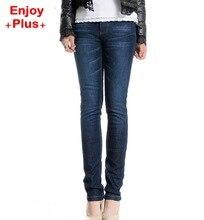ENJOY PLUS 8%OFF hip 104-129cm L - 5XL new winter jeans women pants 2016 large size warm skinny slim denim strech brand femme