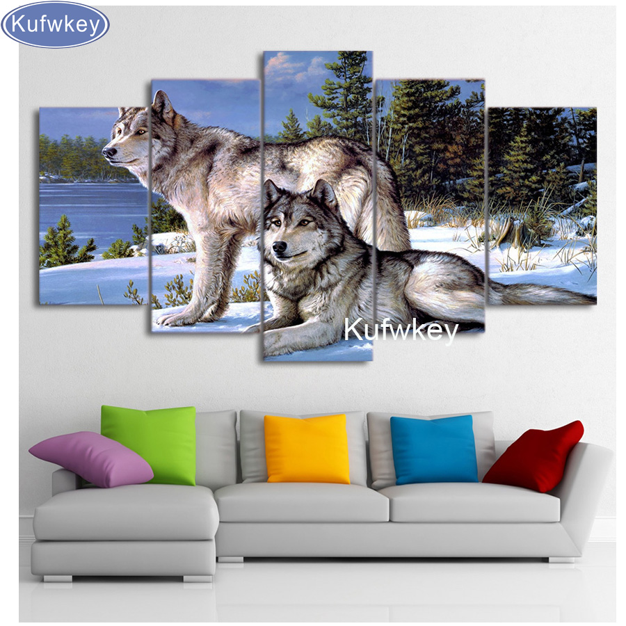 Diy 5d Diamond Painting animal Wolves Cross Stitch Diamond Embroidery Mosaic patterns 3d wolf wallpaper Modular Pictures 5 pcsDiy 5d Diamond Painting animal Wolves Cross Stitch Diamond Embroidery Mosaic patterns 3d wolf wallpaper Modular Pictures 5 pcs