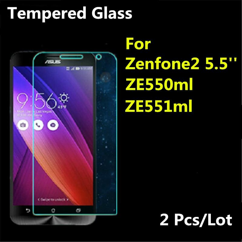 2 Stück Premium für ASUS Zenfone 2 Displayschutzfolie aus gehärtetem Glas, Zenfone2 ze550ml ze551ml 2.5D 9H Schutzfolie, 5,5 Zoll