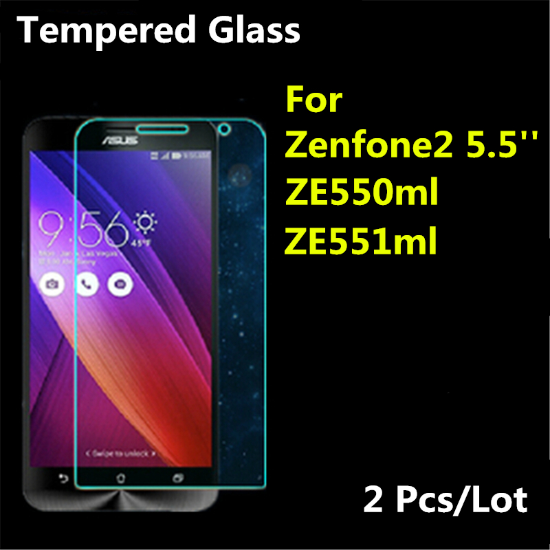 2 stk Premium til ASUS Zenfone 2 hærdet glas skærmbeskytter, Zenfone2 ze550ml ze551ml 2.5D 9H beskyttelsesfilm, 5,5 tommer