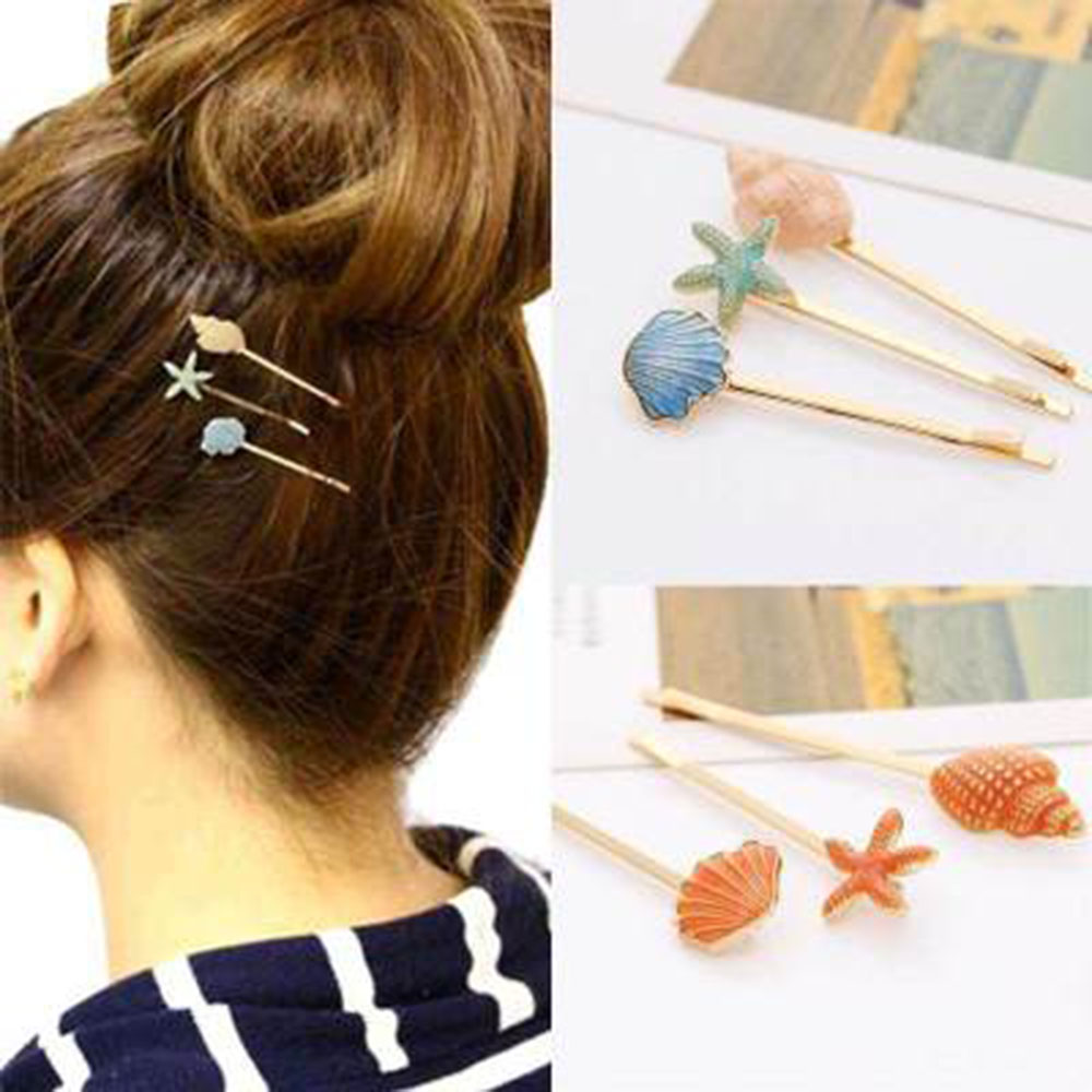 Ocean Style Sweet Candy Color Hairpins Women Cute Vivid Seashell Conch Starfish Shape Girls Hair Clip Casual Side Bangs Hair Pin