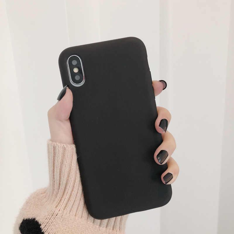 สีทึบสำหรับ iPhone 11 Pro XR XS MAX 6 6S 7 8 PLUS X 10 ซิลิโคนนุ่มสี Candy โทรศัพท์กลับของขวัญ Capa