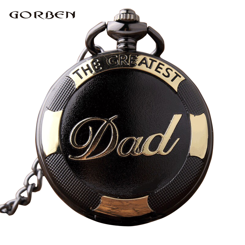 Steampunk Dad Quartz Pocket Watch Pocket Fob Watches Chain Luxury Black Gold Pendent Vintage Gift for Men Relogio De Bolso