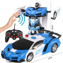 Induction RC Transformer Robot RC Car Transformation Car Remote Control Car RC Robot Gesture Induction LED Light Electric Toys(China)