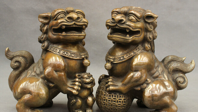 8 Chinese Bronze Copper Decoration Brass Guard PiXiu Foo Fu Dog Lion Ball  Statue Pair Garden Decoration