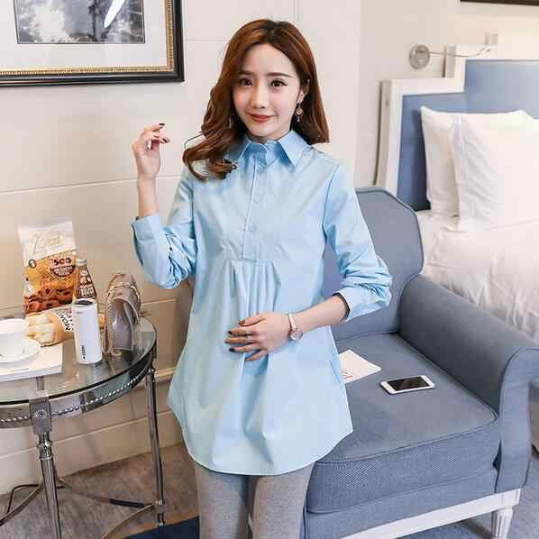 OL Shirts Cotton Maternity Blouses for Pregnant Women Long-sleeved Spring Long Blouse Pregnancy Mom Business Wear DF669
