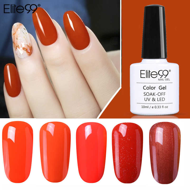 Elite99 10ML 1-10 Colori UV Del Chiodo Del LED Smalto Del Gel UV LED Arancione Unghie artistiche Lacca di Lunga Durata soak-off Gel Per Unghie