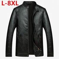 plus size 8XL Men's leather Jacket design Coat Men casual motorcycle leather jacket Mens veste en cuir jackets Sheepskin jacket