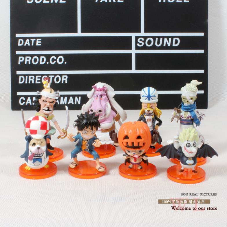Anime figuras de acción   PVC figuras de acción de una pieza Thriller Bark zombis Afusaromu Jgoroh Q versión 9 unids/set envío gratis Anime