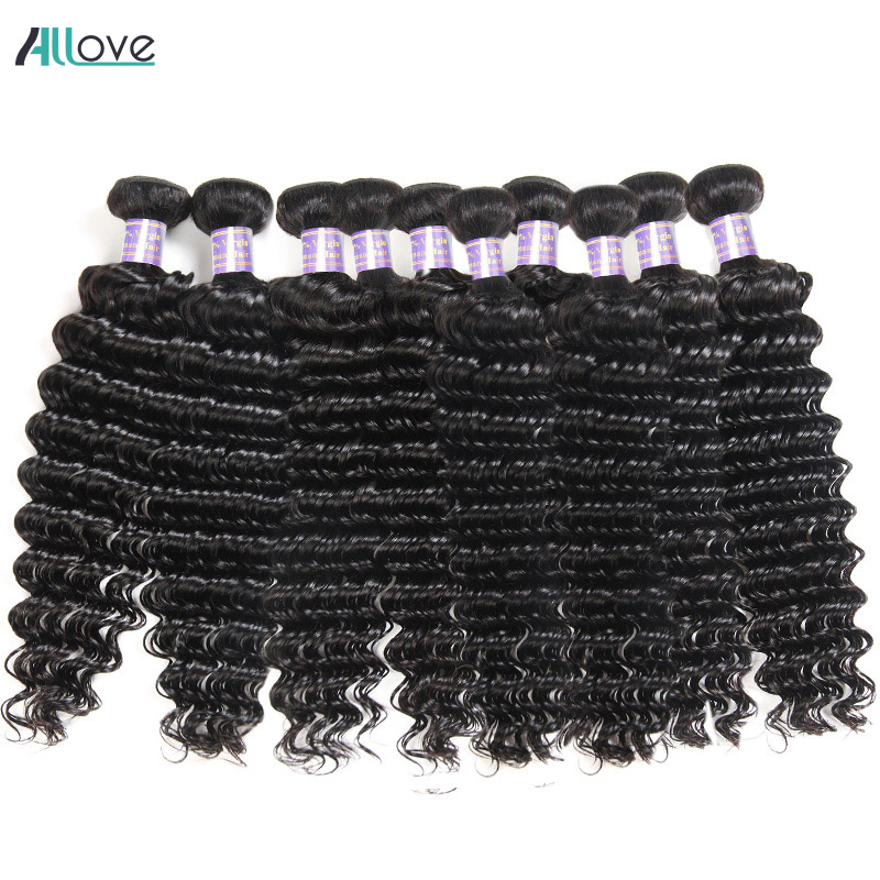 Wholesale Deep Wave Human Hair Bundles 10pcs Brazilian Hair Weave Bundles Natural Color Non Remy Human Hair Weave Free Shipping