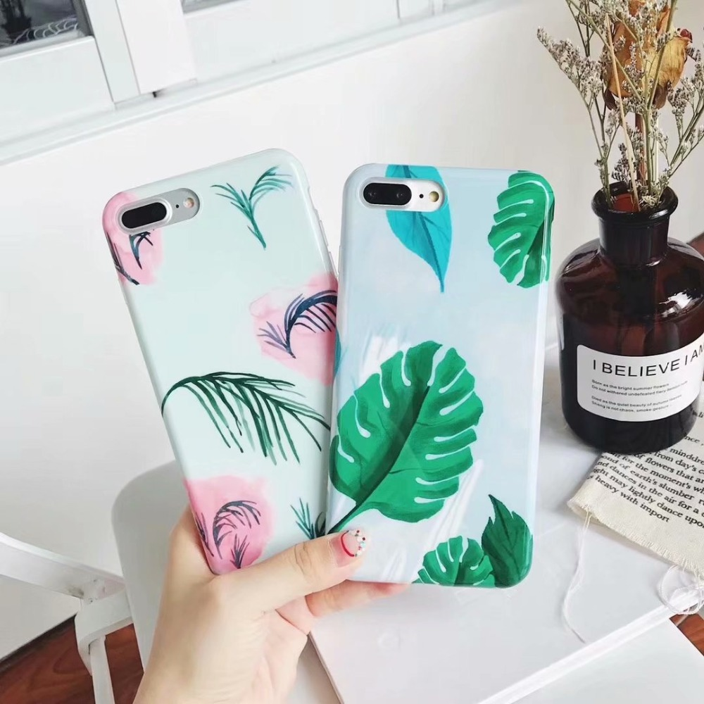 <font><b>Hawaii</b></font> Chic Flamingo Leaf <font><b>Phone</b></font> <font><b>Case</b></font> IMD Glossy Soft Back Cover Casing For iPhoneX 8 6s 7plus Skinny Shell Protection
