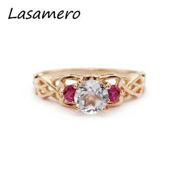 e52afc705f7b Lasamero Anillos para las mujeres 0.60ct corte redondo natural Aquamarine  Anillos 925 compromiso Anillos
