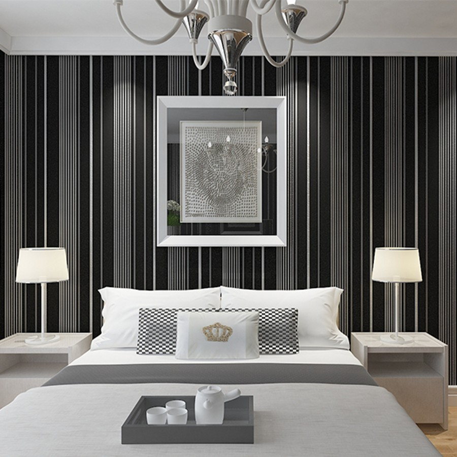 Beibehang black and white vertical striped wallpaper wide for Black and white striped wallpaper bedroom ideas