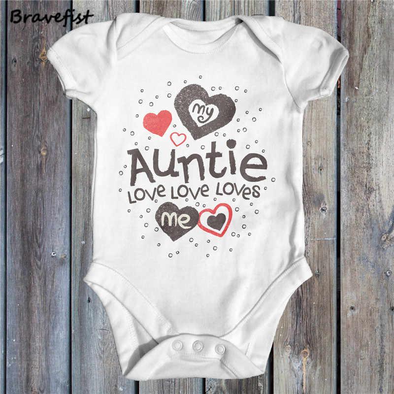 c29e92da58fc ... White Newborn Bodysuits My Auntie Loves Me Letters Print Baby Jumpsuits  Summer Children Boys Girls Clothes ...