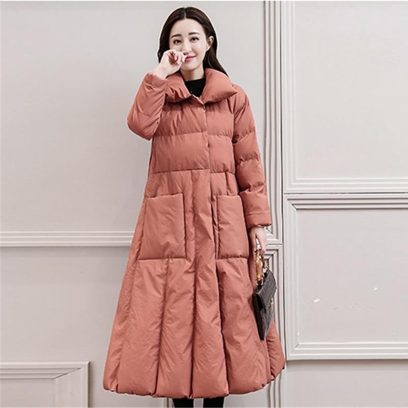 Parkas Long Hiver Mince Manteau Bas 2145 Femmes Veste red black Pink Épais 2018 Femme Col Chaud Vers Ceinture A Wine Coton Le Skin Taille Plus Top ligne Montant La dU7UOr