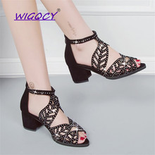 Women Summer Hollow Out Faux Leather Rhinestones Peep Toe summer shoes women Thi