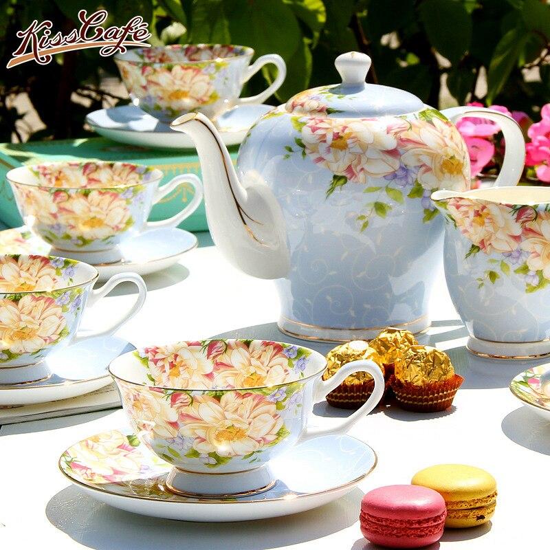 Ensemble de café en porcelaine porcelaine | Qualité supérieure, tasse de café en céramique, tasse européenne de thé de l'après-midi, fleurs en céramique 15 pièces/1