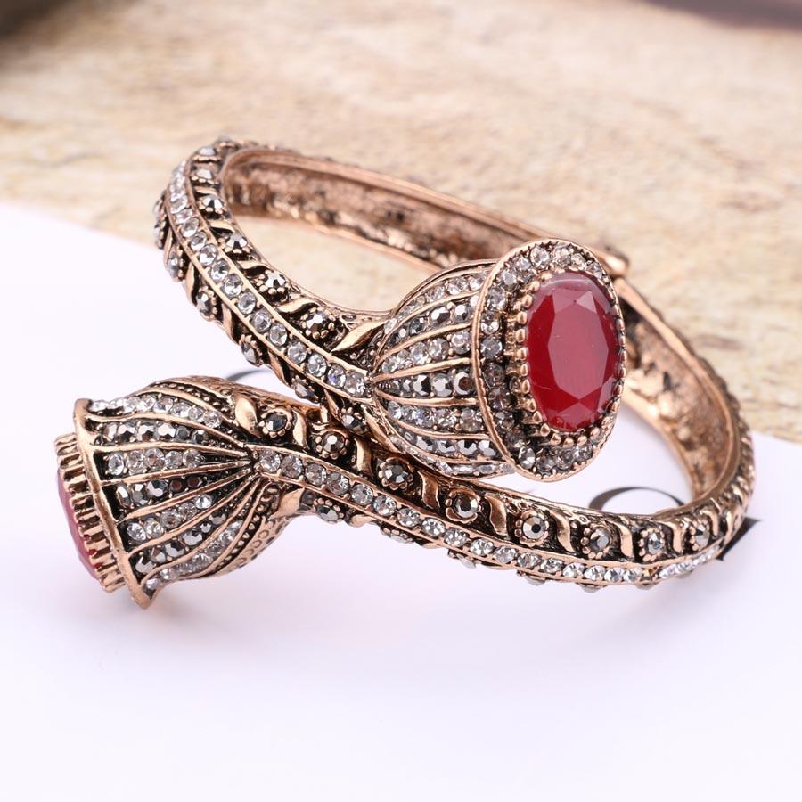 Vintage Bilezik Kadınlar Için Antik Altın Renk Kırmızı Reçine - Kostüm mücevherat - Fotoğraf 3