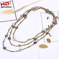 New Beach Bohemian Long Multi Layered Chain Necklace Natural Semi Precious Stone Crystal Bead Pendant Necklaces