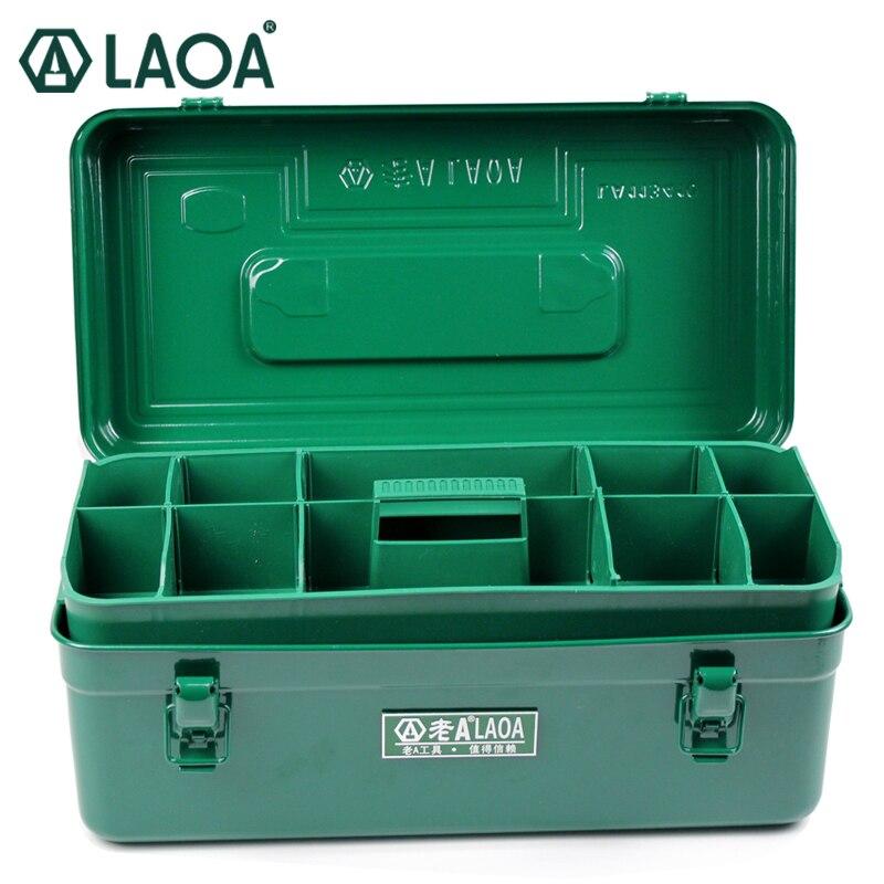 Caixa de Ferramentas do Agregado Laoa Multifunction Engrossar Ferro Toolkit Tamanho 410*210*180mm Professional Reparação Peças Familiar