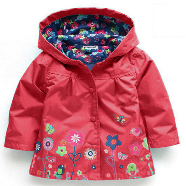 2-6 yrs Baby Girls Toddler hooded 2018 spring Autumn Girls Jackets casual Kids Outwear flower pattern Waterproof Children Coat 4