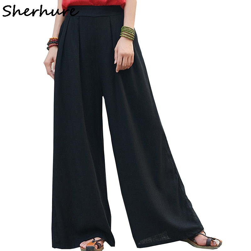 Sherhure 2018 Women   Pants   Loose Style High Waist Women Cotton And Linen   Pants   Female Trousers Casual Women   Wide     Leg     Pants