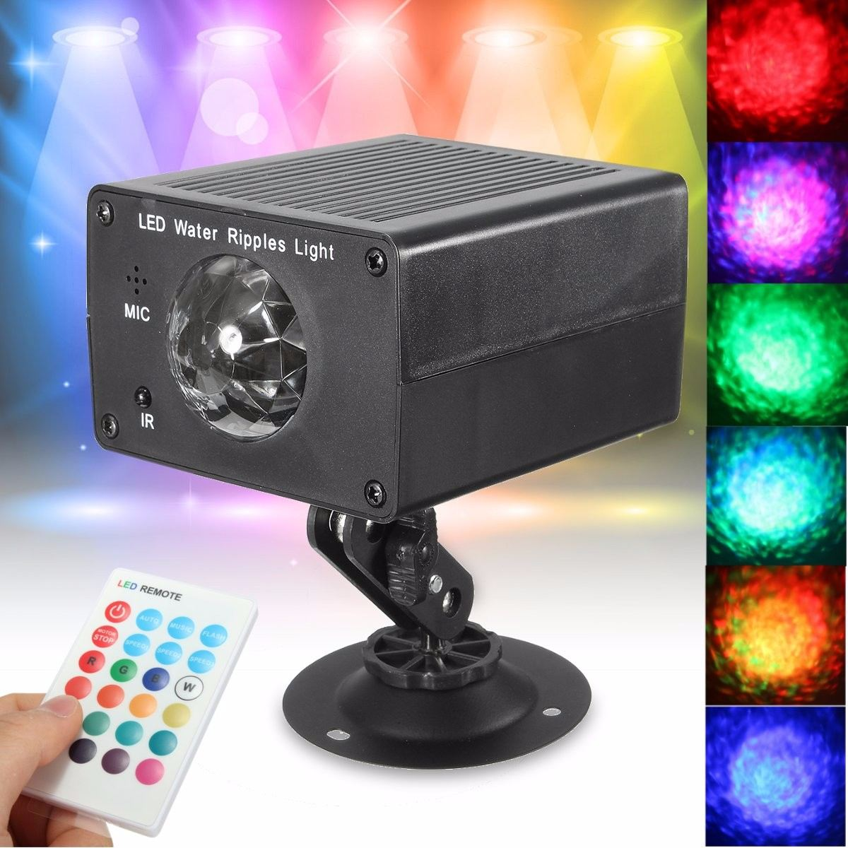 Rectangle Magic Crystal Remote Control LED Water Ripples Ocean Night Lamp Stage Light DJ Club Pub Disco Party Show Lighting