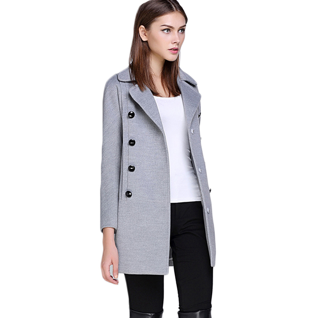 Women's 2017 Spring Suit Wool Coat Women Lapel Dust Coat Regular Cashmere Coats Female Solid Jacket Outerwars Ladies Parka F1831