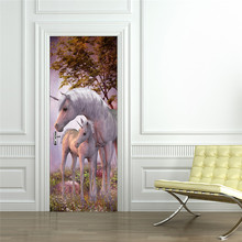 Weiß Einhorn Pferd Poster PVC Wasserdichte Tür Aufkleber Kreative Aufkleber Tür Wand Aufkleber DIY Wandbild Schlafzimmer Wohnkultur