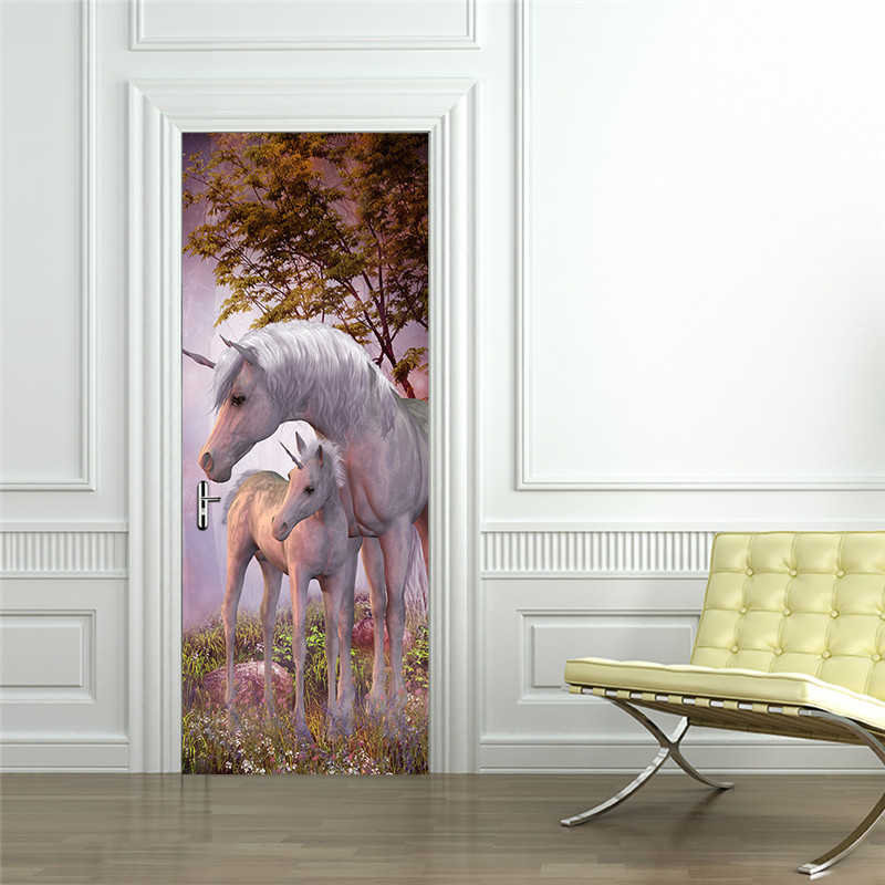White Unicorn Horse Poster PVC Waterproof Door Sticker Creative Stickers Door Wall Sticker DIY Mural Bedroom Home Decor-in Wall Stickers from Home & Garden
