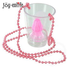 JOY-ENLIFE Hen Night Willy Shape Plastic Cup On Beaded Chain Necklace Shot Glass Bridal Shower Bachelorette Party Supplies
