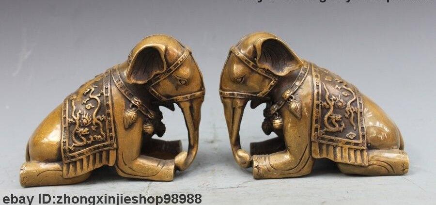 Китайский бронзовый медный фэншуй резной дракон слон Lucky Art статуя