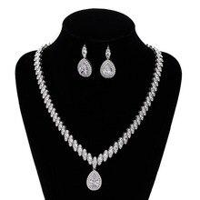 Original 925 en argent Sterling goutte deau marquise coupe ensemble de bijoux pour les femmes de mariage mariée cristal goutte boucle doreille collier J4809